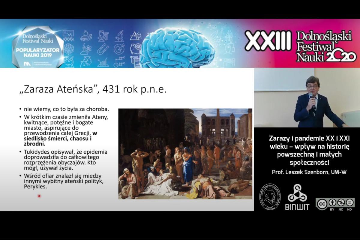 Zarazy i pandemie XX i XXI wieku – wpływ na historię. Prof. Leszek Szenborn z UM-W na DFN 2020